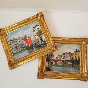 VINTAGE Set of 2 Framed European Oil Painting 8x10